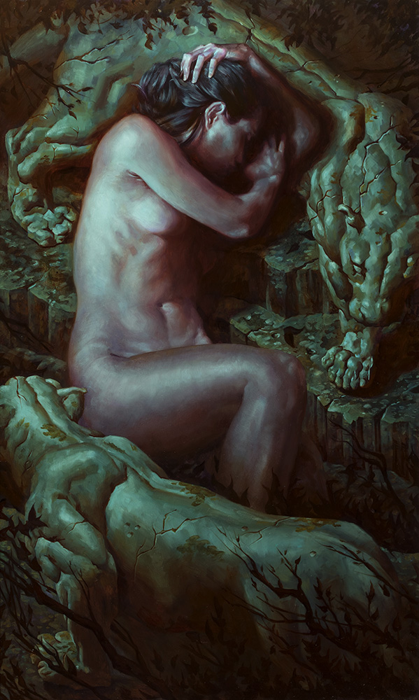 Accursed, 18″ x 30″ oil on panel. Available for purchase: $4000 framed.