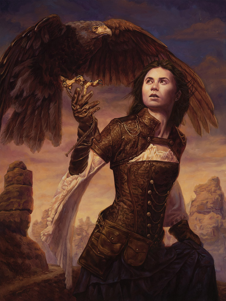 Huntress of the Sky, 18″ x 24″ oil on panel. Available for purchase: $3600 framed.