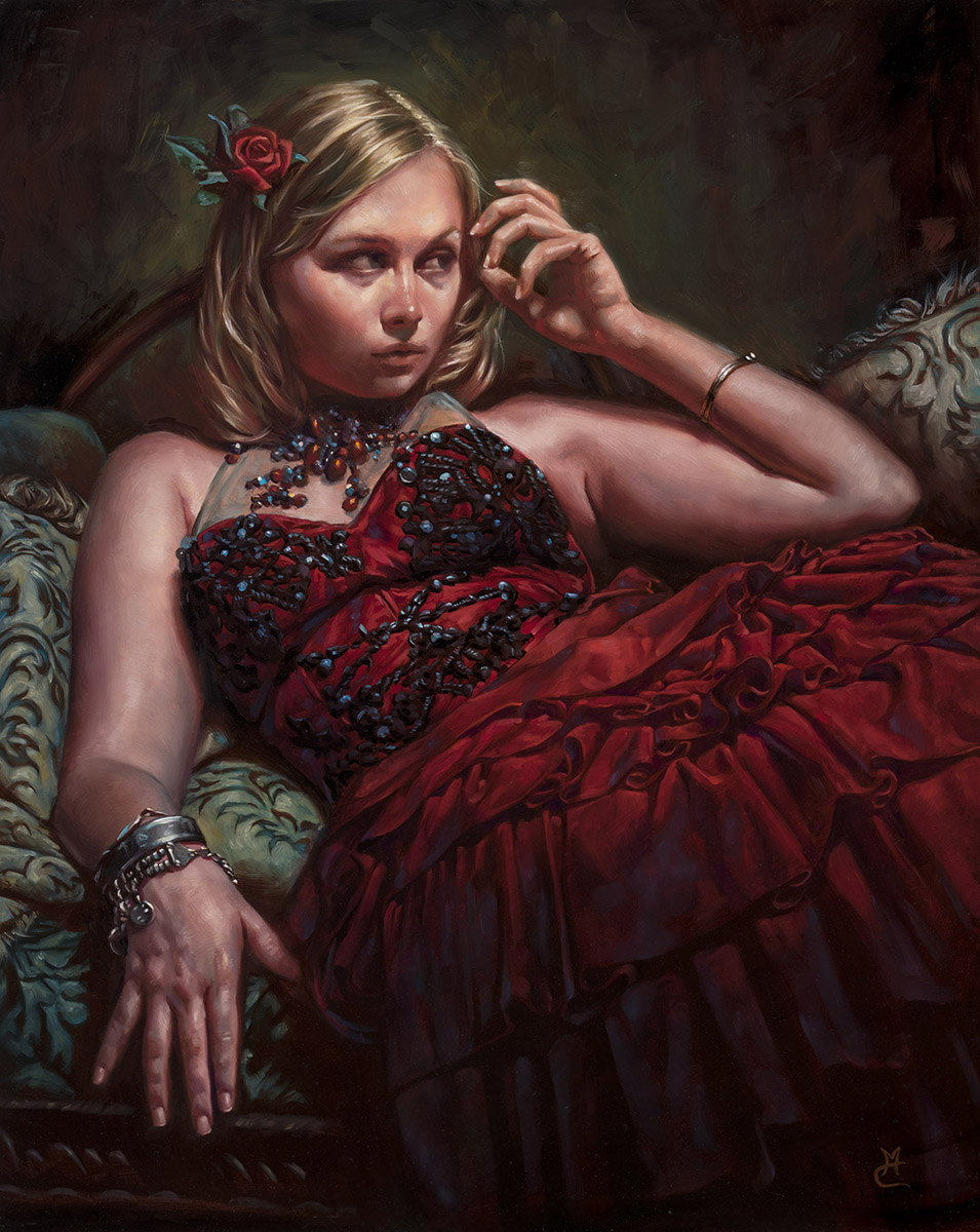 Carmine, 16″ x 20″ oil on panel. Available for purchase through Lovetts Gallery