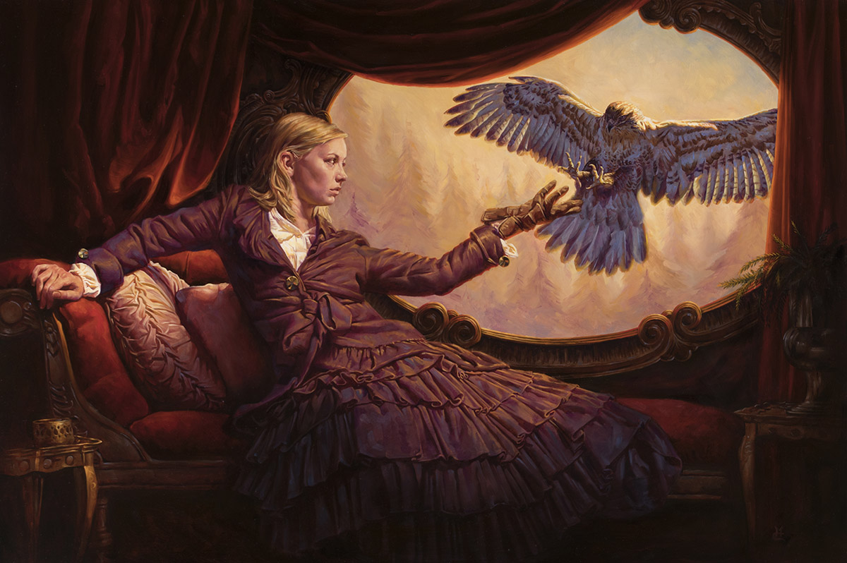 Falconress, 24″ x 36″ oil on panel. Available for purchase: $6500 framed.