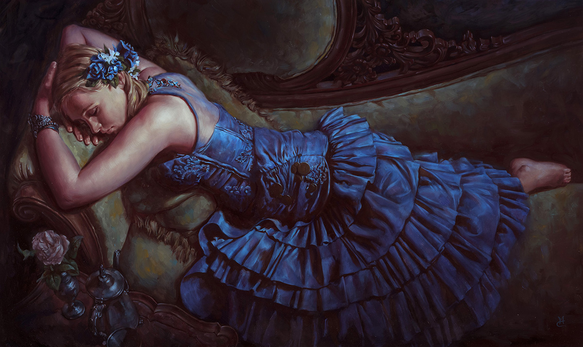 Repose, 18″ x 36″ oil on panel. Available for purchase through Lovetts Gallery