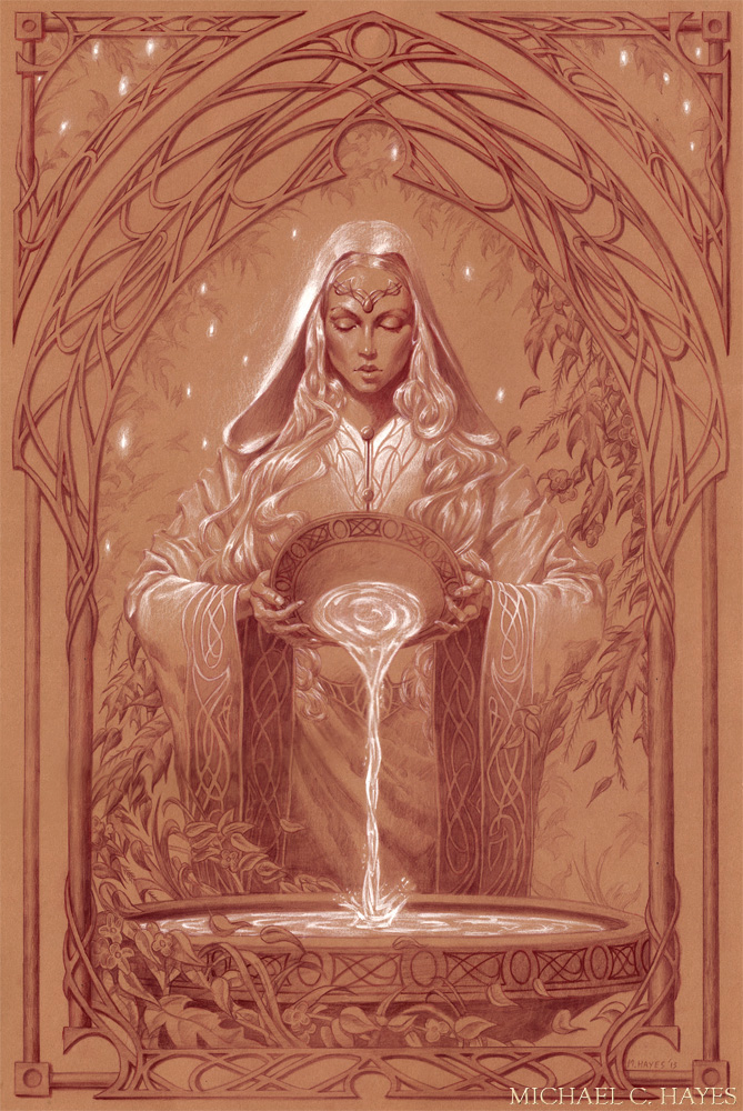 Galadriel, 16″ x 24″ Colored Pencil on Paper