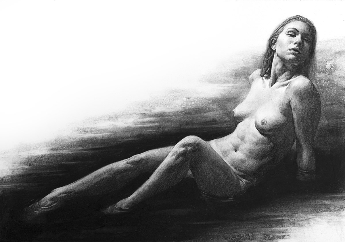 Immerse, 14″ x 20″ Charcoal on Bristol